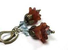 Boho Chic Earrings from  jewelrybyNaLa ... https://www.etsy.com/listing/185776931/boho-chic-earrings-blue-brown-swarovski #Boho Chic Earrings #Blue Swarovski #Brown Earrings