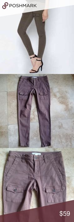 Joie So-Real Skinny Cargo Pants.  EUC Cargo style jeans by Joie. Waist is a pit 31 inches. Rise is 7 1/2. Inseam is 29. Zipper on bottom of legs. Cotton,lyocell,spandex. Joie Jeans Skinny