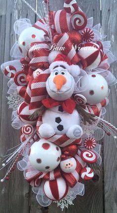 Christmas Wreath Olaf Wreath Snowman Wreath by BaBamWreaths