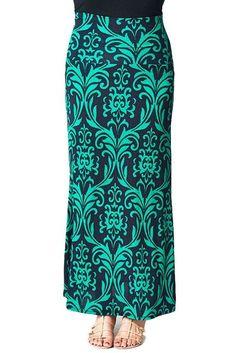ColorMC Women's Boho Tribal Print Long Maxi Knit Skirt at Amazon Women's Clothing store: