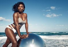 Serena Williams during a seaside photoshoot...