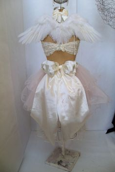 Shabby chic princess mannequin dress form embellished French inspired crown Wolf body form display back