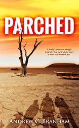 """""""Parched"""" (ISBN: a new mainstream fiction novel by award-winning author, Andrew Branham, depicts a dystopian society in a post-apocalyptic world where global warming is the villain. Science Fiction Books, Fiction Novels, Book 1, This Book, Post Apocalyptic Fiction, Dystopian Society, Red Giant, Thriller Books, Sci Fi Books"""