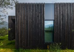 Rural Icelandic cottages by PK Arkitektar have turf roofs and burnt timber cladding Wood Facade, Timber Cladding, Types Of Cladding, Cladding Ideas, Timber Roof, External Cladding, Charred Wood, Contemporary Cottage, Thatched Roof