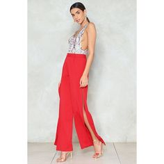 Nasty Gal Let's Part Ways Wide-Leg Pants ($28) ❤ liked on Polyvore featuring pants, red, red high waisted pants, high waisted wide leg trousers, red trousers, high-waisted wide leg pants and red wide leg pants