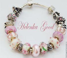 Купить браслет в стиле евро Королевишна 215 - бледно-розовый, модный браслет, розовый браслет