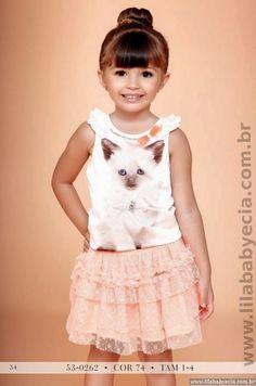 Conjunto Blusa Com Saia Miss Cake Moda Infantil Animal Face 530262