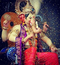 No photo description available. Jai Ganesh, Ganesh Lord, Ganesh Statue, Shree Ganesh, Lord Krishna, Ganesha Rangoli, Ganesha Art, Ganesh Wallpaper, Lord Shiva Hd Wallpaper