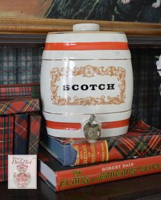 Vintage Scotch English Advertising Decanter / Liquor Bottle for Lamp / Decor sm - Nancy's Daily Dish Scottish English, Butter Crock, English Country Style, Tea Caddy, Vintage Bar, Liquor Bottles, Decanter, Scotch, Coffee Cans
