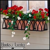 hooks and lattice.com window boxes. Wrought iron.