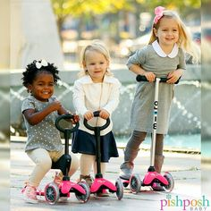 Perfect outdoor toy for summer! Now in stock: Mini Micro Kickboard 3-in-1 and Mini Micro Kickboard in pink & blue! Prices start at just $79.99! http://www.pishposhbaby.com/kickboard-usa.html