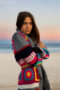 A sunset. A mysterious glint in the eye. And terrific granny square crochet. Via Garance Dore.