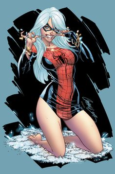 Black Cat in a Spidey tee by J Scott Campbell
