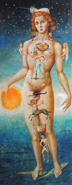 De medische kant van de astrologie is hier uitgebeeld...this looks funny but cool rep of all signs