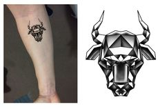 Taurus Bull Head Zodiac Geometric Tattoo Design. Designer: Andrija Protic
