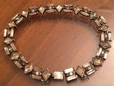 """1930's Art Deco Sterling Silver French Paste Bracelet 7 1/2"""" & 15.3 Grams Z-177"""