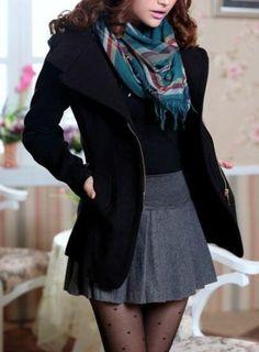 Mini falda y bufanda perfecta!