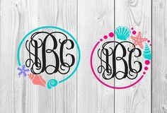 Seashell Monogram Digital Design SVG Cutting File Seashells