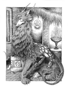 Wargoon #illustration #creature #mythical (@Gabrielle Peck look at this elegant beastie!)