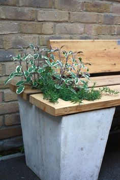 The bench is made from salvaged scaffolding planks and the planters are cast concrete with re-claimed aggregates.