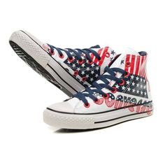 Blue Red Converse All Star American Flag And Letters Graffiti High Top... ( c97fdf4b0