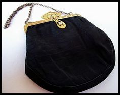 Vintage Purse Evening Bag Black Satin Art Deco Clasp Brass Chain Etched Frame 7 VG via Etsy