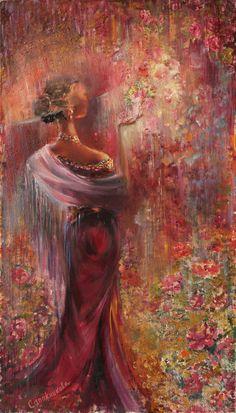 Oil painting / Картины цветов ручной работы. Ярмарка Мастеров - ручная работа. Купить Цветочный дождь.. Handmade. Комбинированный, картина в подарок