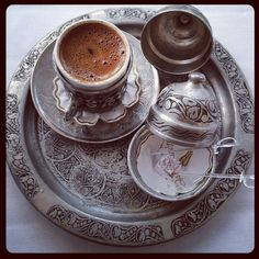 These Turkish coffee cups are so beautiful. They are espresso sized as Turkish Coffee is so strong, I have been told this is to ensure the Sufi's stay awake through the night to pray and meditate, (dont hold me to this).    Sadly I am not a big coffee drinker and they are too small for my Tri-daily cup of tea but they are so pretty and ornate that I am tempted to get one anyway.... lots of little cups of tea is do-able...