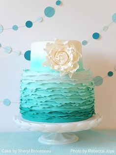Teal/Tiffany Blue ombre ruffle wedding cake.  Simple, chic and so cute!!! :)
