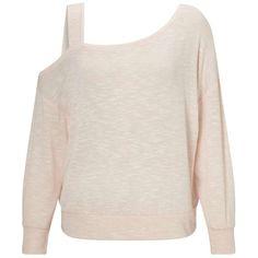 Miss Selfridge Pink Asymmetric Sweatshirt ($42) ❤ liked on Polyvore featuring tops, hoodies, sweatshirts, pink, pink top, long sleeve asymmetric top, pink sweatshirts, viscose tops and long sleeve sweatshirt