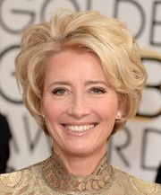 This is more like my hairstyle.  I'm sure I could easily achieve this same perfectly styled short slightly wavy hairdo shown here on Emma Thompson.