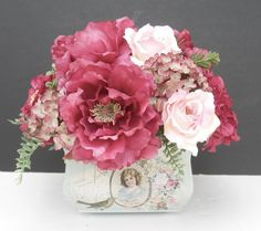 Silk Flower Arrangement, Victorian Style on Etsy, $35.00