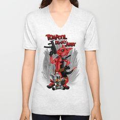 Tompool and deadly Jerry Unisex V-Neck T-Shirt #vneck #tshirt #tee #clothing #tompool #tomandjerry #tom #jerry #cartoon #animated #deadly #superhero #gun #comic #children #humor #movies