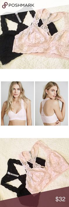 "SET OF 2! Free People Galloon Racerback Bralette SET OF 2! Free People Galloon Racerback Lace Bralette. Colors: One Black, One Ballet (Light Pink). Size Large. LIKE NEW. Each worn 1-2 times. ""Style: 26423962 Color Code: 017  Stretchy floral lace racerback bralette with mesh lining and scalloped edges.  Intimately  85% Nylon 15% Spandex"" Free People Intimates & Sleepwear Bras"