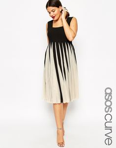Image 1 ofASOS CURVE Fit & Flare Mesh Dress with Square Neck