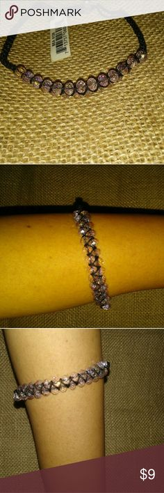 Cute Gem and Black threaded bracelet.. Cute Gem and Black threaded bracelet.. To get the absolute best savings and bang for your buck, bundle all the items that you like and let me know what you would like to purchase, you will save time and money on shipping and much more. Jewelry Bracelets