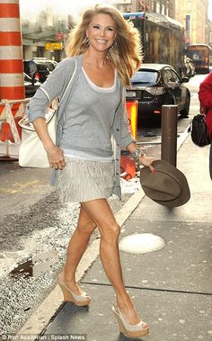 Still got it: At 57-years-old, it's safe to say Christie Brinkley can still confidently pull off a thigh-skimming mini-skirt