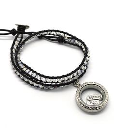 R2C Couture Silver Rhinestone Floating Locket Wrap Bracelet & Charm Set | zulily