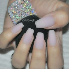 Nude matte coffin nails