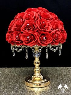 RED Rose Arrangement with PREMIUM Real Touch Silk Roses and RHINESTONE GEMS. Red Wedding Centerpiece. Red Centerpiece. Floating Pomander. PICK ROSE COLOR! 16 SIZE PICTURED With RHINESTONE GEMS IN Roses. GOLD STANDS With CRYSTALS Sold Separately.  These beautiful roses have a real feel and look to Rosen Arrangements, Red Rose Arrangements, Red Flower Girl, Flower Girl Bouquet, Hot Pink Weddings, Aqua Wedding, Silk Roses, Red Roses, Diamond Wedding Cakes