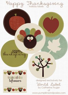 "Free DIY Thanksgiving Labels in printable templates designed by pumpkinsandposies.com In this set are small and round label stickers and what we all want, those yummy  ""leftovers"" stickers for all you happy guests -:) #labels #thanksgiving"