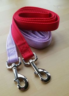 25mm custom length flyball leads on red and lilac web.