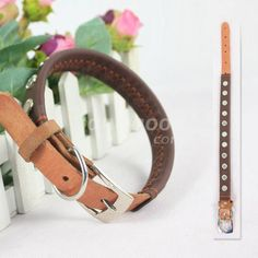 Studded Studs Leather Dog Collar Adjustable Leather Pet Collar