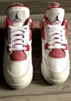 1116b0e693de67 NIKE AIR JORDAN 4 (IV) RETRO âALTERNATE 89â WHITE BLACK GYM-RED (GS) SIZE 6Y