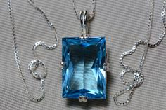 Blue Topaz Necklace, Topaz Pendant, 19.64 Carat Certified At 1,200.00 Sterling Silver, Swiss Blue, December Birthstone Real Topaz Jewellery