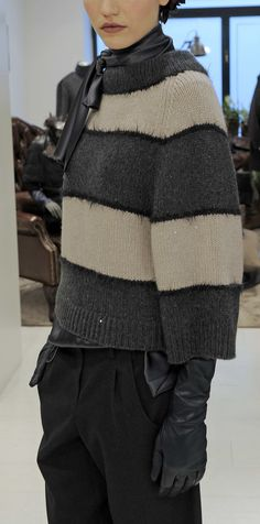 Brunello Cucinelli - Milan Fashion Week FW13/14 Love the idea of a furry line between stripes