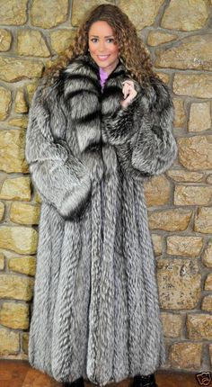 Full Length Silver Fox Fur Coat