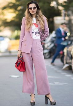 Love your double-breasted blush suit, but find it a bit blah to take to the bar after work? Make like this genius and wear with a clashing mini bag, high-shine platforms (so your hems fall just so) and your fave slogan tee