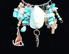 Black Friday Sale on Now - No Code Required! - OOAK Southwestern Turquoise Charm Necklace by BlueWorldTreasures
