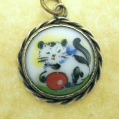 Antique German Art Deco Silver Cat Ball Pendant Charm Hand Painted Porcelain   eBay
